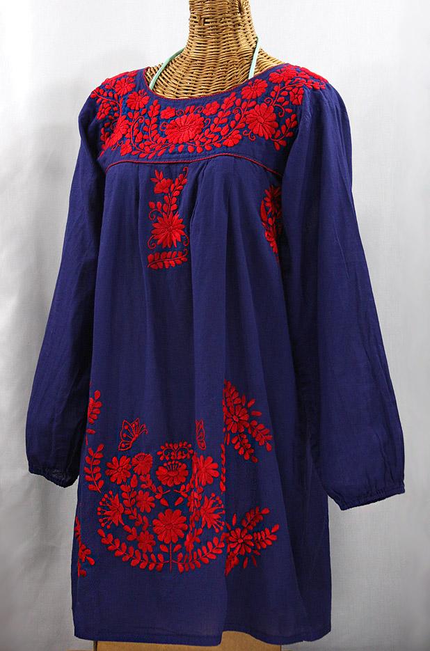 """La Mariposa Larga"" Embroidered Mexican Dress - Denim Blue + Red"