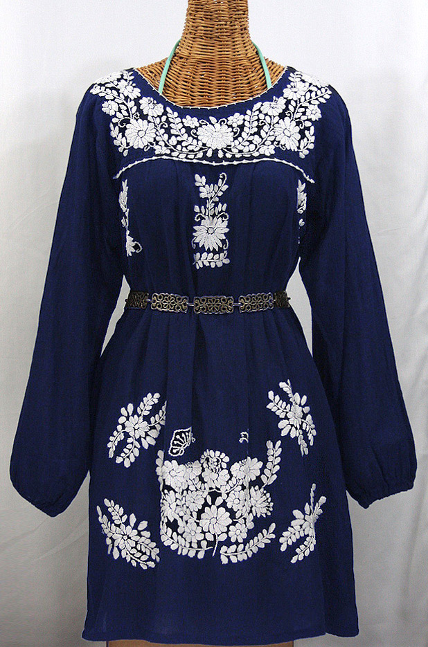 """La Mariposa Larga"" Embroidered Mexican Dress - Denim Blue"