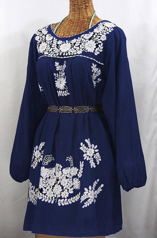 """La Mariposa Larga"" Embroidered Mexican Dress - Denim Blue"