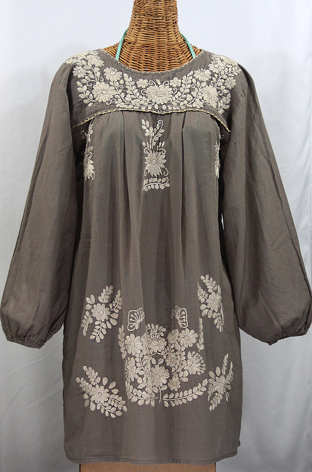 """La Mariposa Larga"" Embroidered Mexican Dress - Fog Grey"