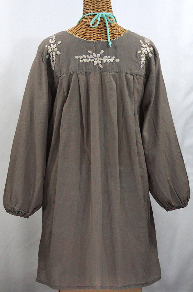 """La Mariposa Larga"" Embroidered Mexican Dress - Fog Grey"
