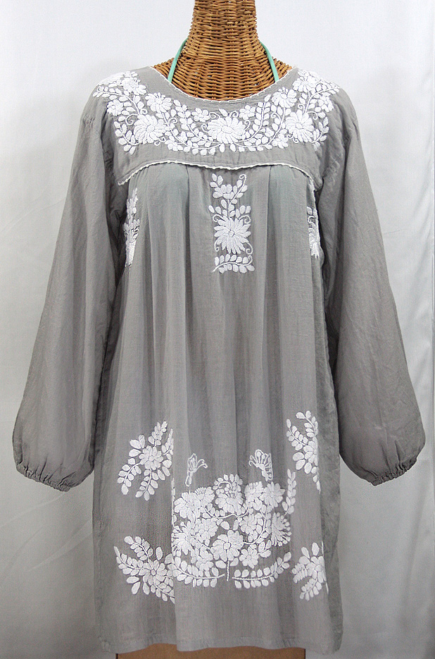 """La Mariposa Larga"" Embroidered Mexican Dress - Grey"