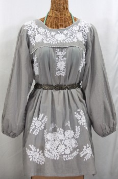"""La Mariposa Larga"" Embroidered Mexican Dress - Grey"