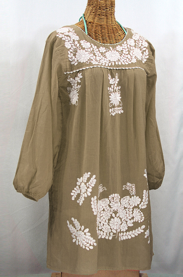 """La Mariposa Larga"" Embroidered Mexican Dress - Khaki + White"
