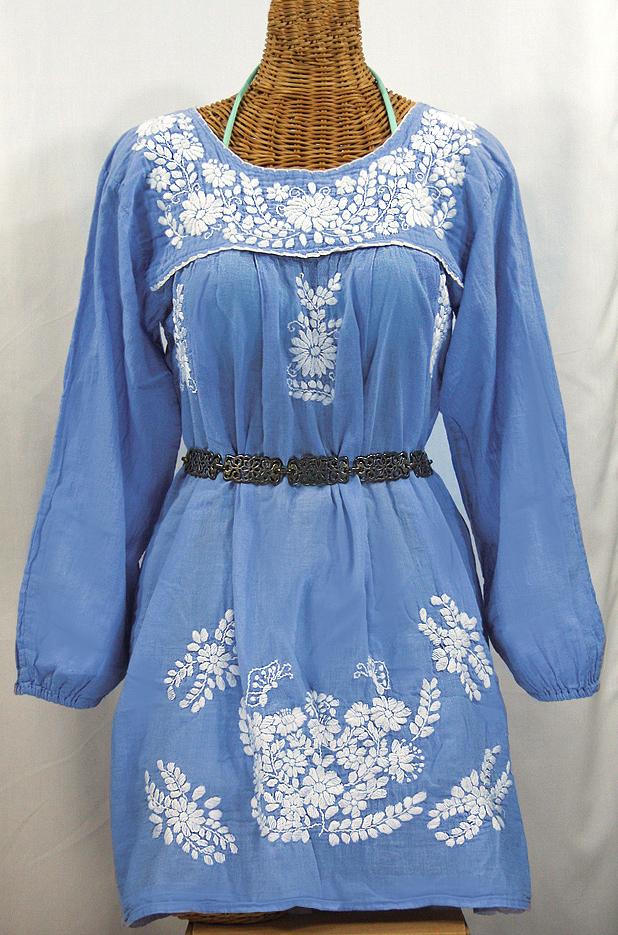 """La Mariposa Larga"" Embroidered Mexican Dress - Light Blue"