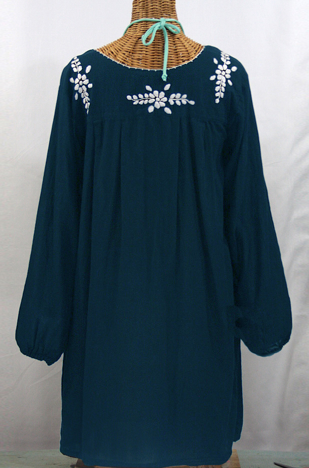 """La Mariposa Larga"" Embroidered Mexican Dress - Navy Blue"