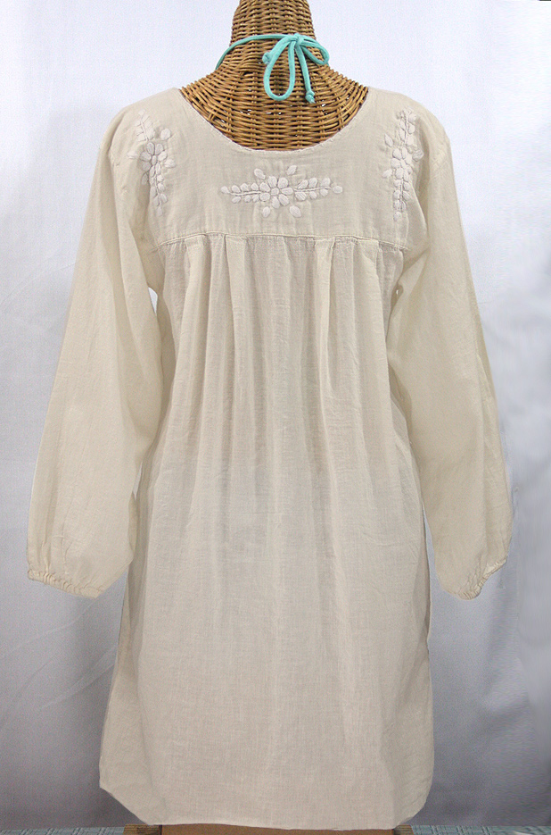 """La Mariposa Larga"" Embroidered Mexican Dress - Off White + Off White Embroidery"