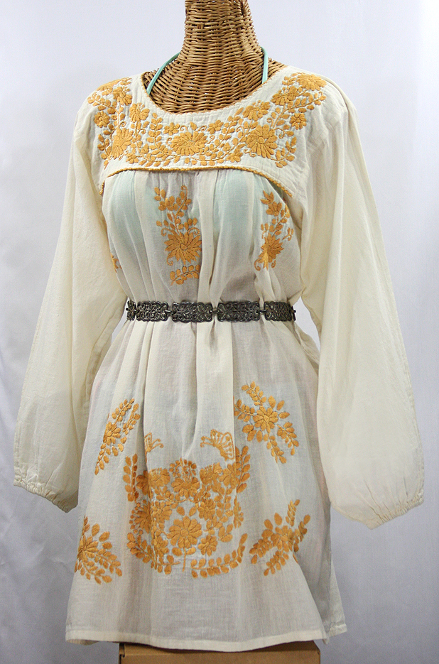 """La Mariposa"" Embroidered Mexican Dress - Off White + Gold Embroidery"