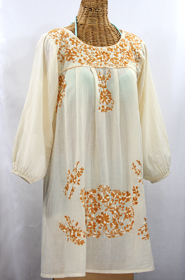 """La Mariposa Larga"" Embroidered Mexican Dress - Off White + Gold Mix Embroidery"