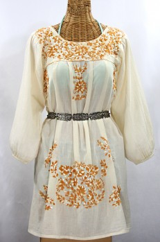"""Final Sale 60% Off -- """"La Mariposa Larga"""" Embroidered Mexican Dress - Off White + Gold Mix Embroidery"""