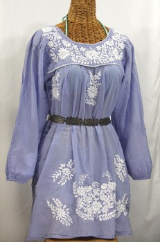 """""""La Mariposa Larga"""" Embroidered Mexican Dress - Periwinkle"""