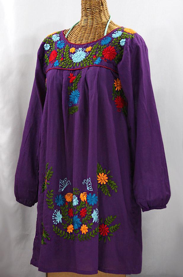 """La Mariposa Larga"" Embroidered Mexican Dress - Purple + Fiesta"