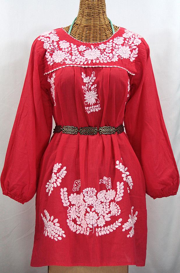 """La Mariposa Larga"" Embroidered Mexican Dress - Tomato Red"