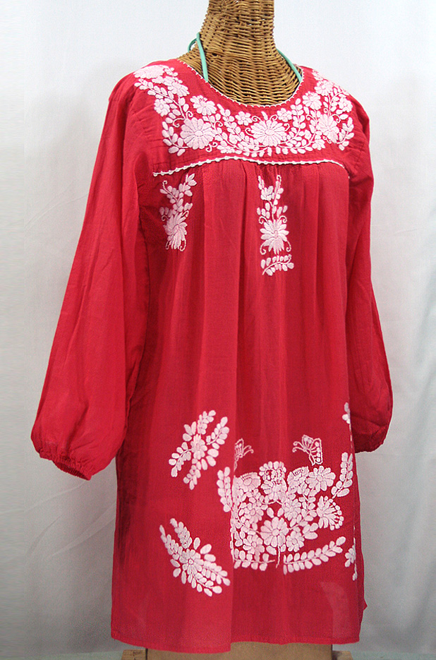 """La Mariposa Larga"" Embroidered Mexican Dress - Tomato Red"