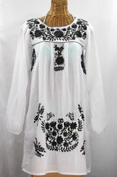 """La Mariposa Larga"" Embroidered Mexican Dress - White + Black"