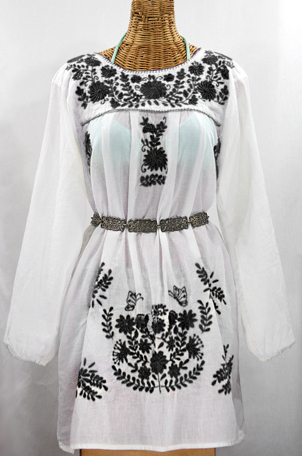 """La Mariposa Larga"" Embroidered Mexican Dress - White + Black"