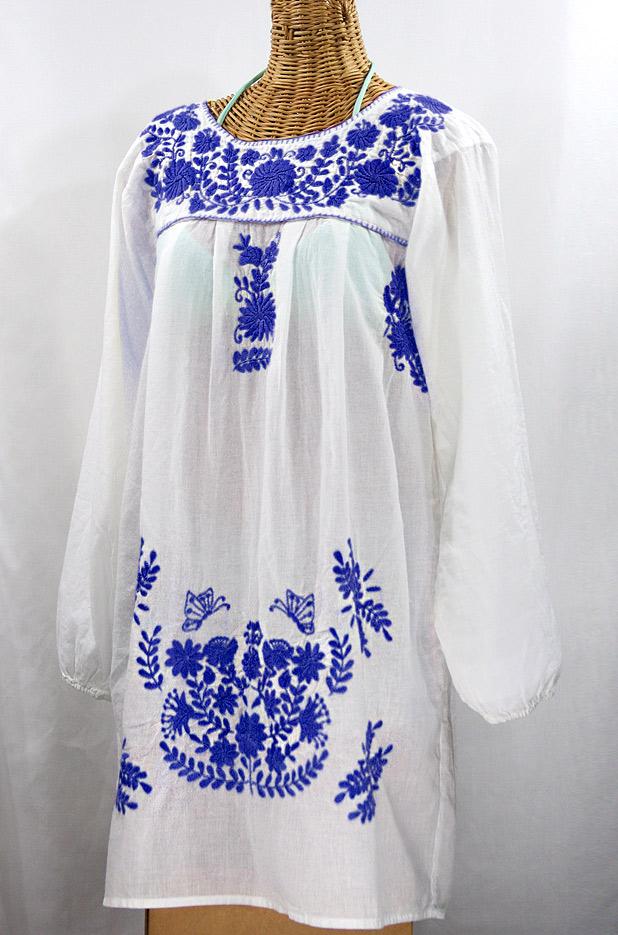 """La Mariposa Larga"" Embroidered Mexican Dress - White + Blue"