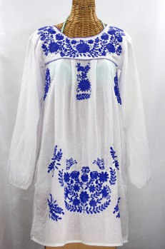"""La Mariposa Larga"" Embroidered Mexican Dress - White + Blue"