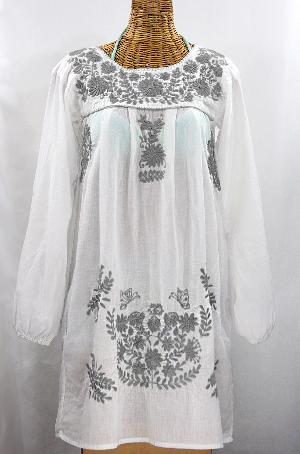 """60% Off Final Sale """"La Mariposa Larga"""" Embroidered Mexican Dress - White + Grey"""