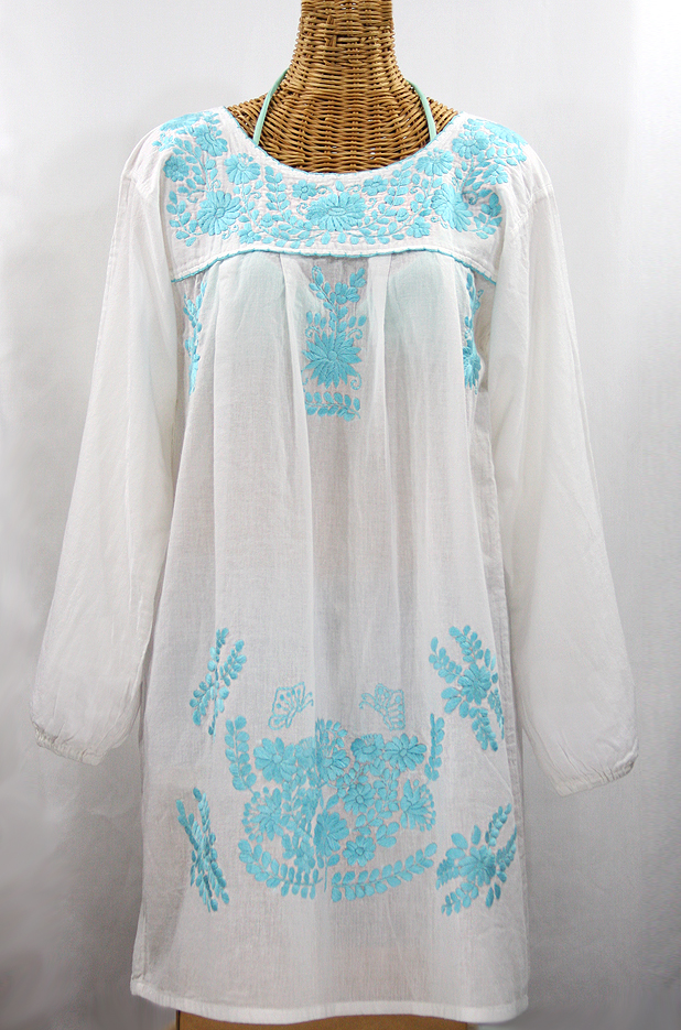 """La Mariposa Larga"" Embroidered Mexican Dress - White + Neon Blue"