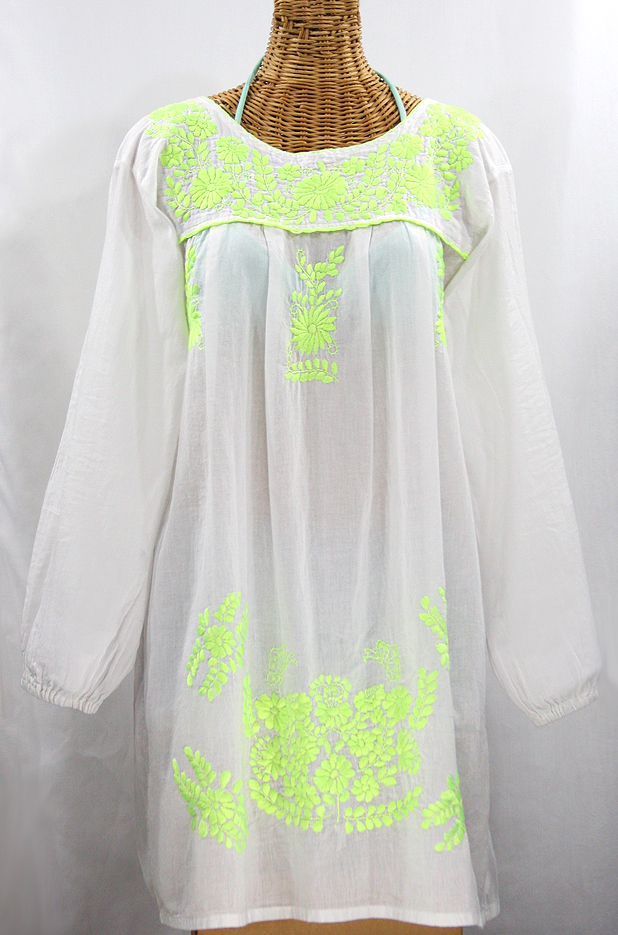 """La Mariposa"" Embroidered Mexican Dress - White + Neon Green"