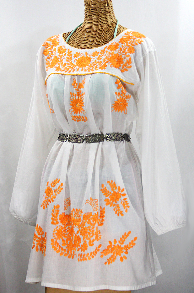 """La Mariposa Larga"" Embroidered Mexican Dress - White + Neon Orange"