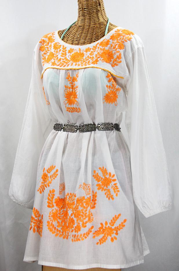 "60% Off Final Sale ""La Mariposa Larga"" Embroidered Mexican Dress - White + Neon Orange"