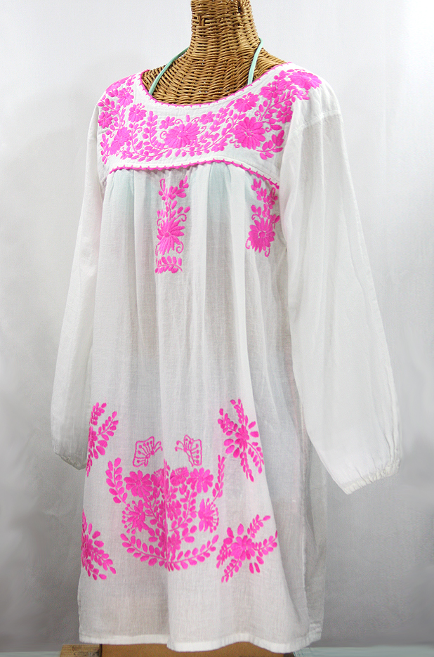 """60% Off Final Sale """"La Mariposa Larga"""" Embroidered Mexican Dress - White + Neon Pink"""