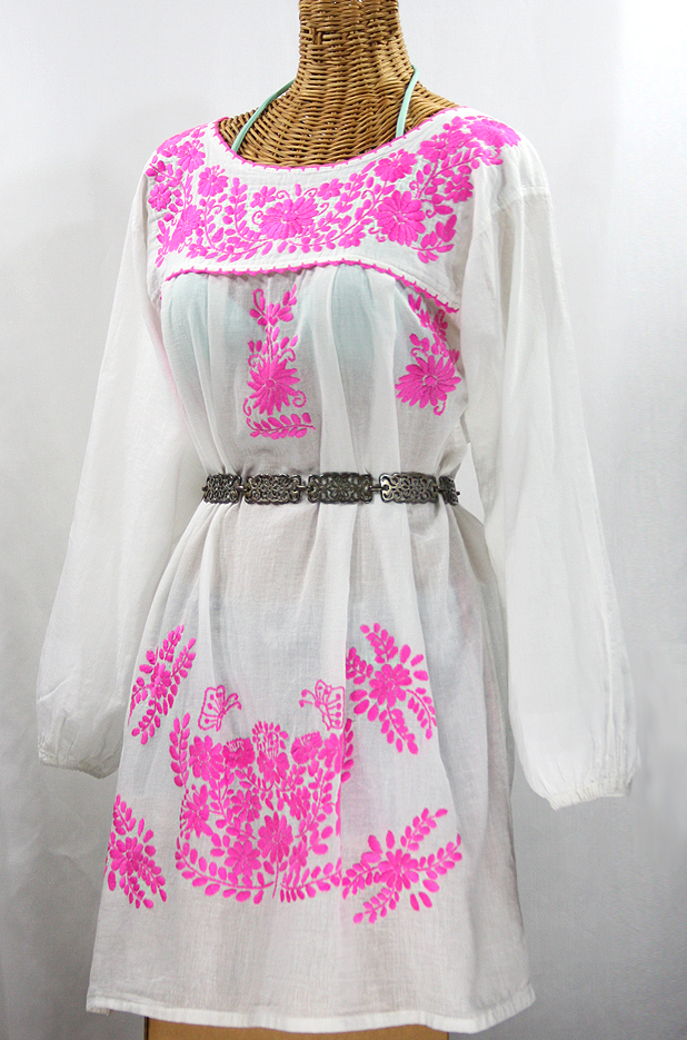 """""""La Mariposa"""" Embroidered Mexican Dress - White + Neon Pink"""