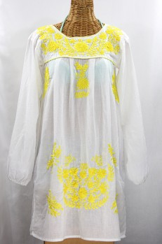 """La Mariposa Larga"" Embroidered Mexican Dress - White + Neon Yellow"