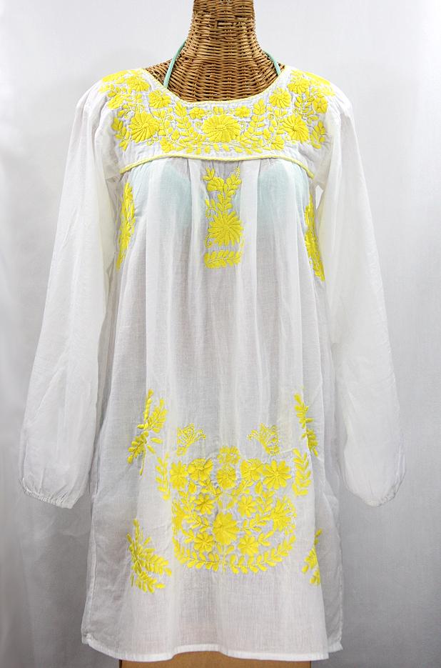 "60% Off Final Sale""La Mariposa Larga"" Embroidered Mexican Dress - White + Neon Yellow"