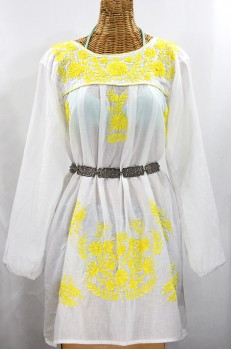 "Final Sale 60% Off -- ""La Mariposa Larga"" Embroidered Mexican Dress - White + Neon Yellow"