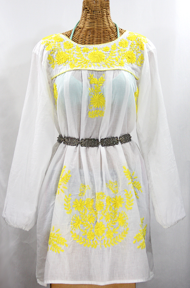 "Final Sale 60% Off -- ""La Mariposa Larga"" Embroidered Mexican Dress - White + Neon Yellow"