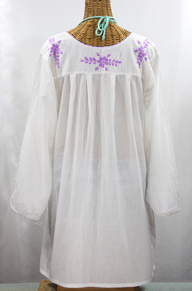 """La Mariposa Larga"" Embroidered Mexican Dress - White + Purple"