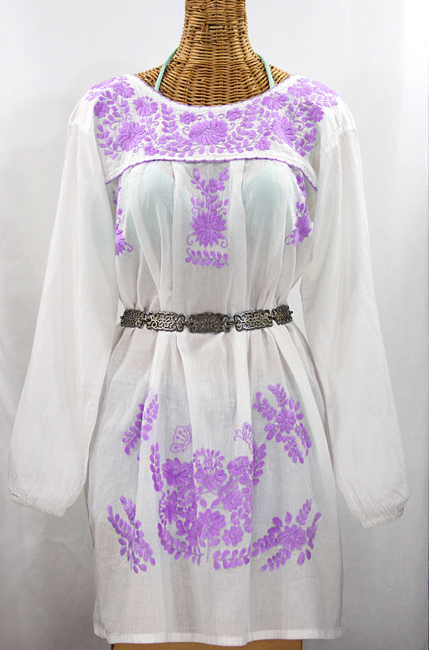 """La Mariposa Larga"" Embroidered Mexican Dress - White + Purple"