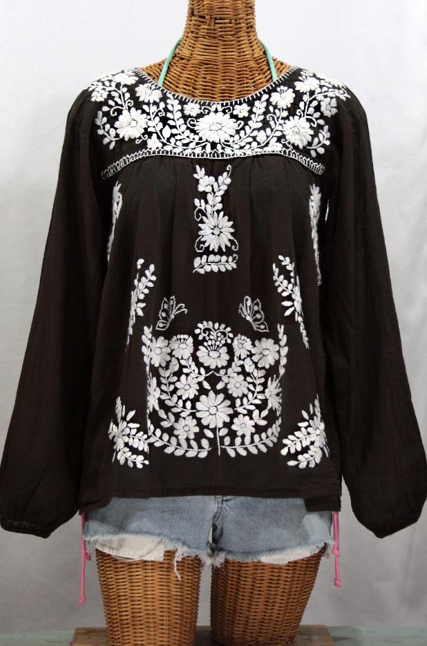 """La Mariposa Larga"" Embroidered Mexican Blouse - Dark Chocolate"