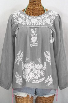 """La Mariposa Larga"" Embroidered Mexican Style Peasant Top - Grey"
