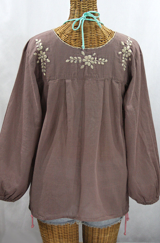 """La Mariposa Larga"" Embroidered Mexican Blouse - Fog Grey"