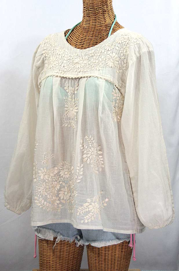 """La Mariposa Larga"" Embroidered Mexican Blouse - All Off White"