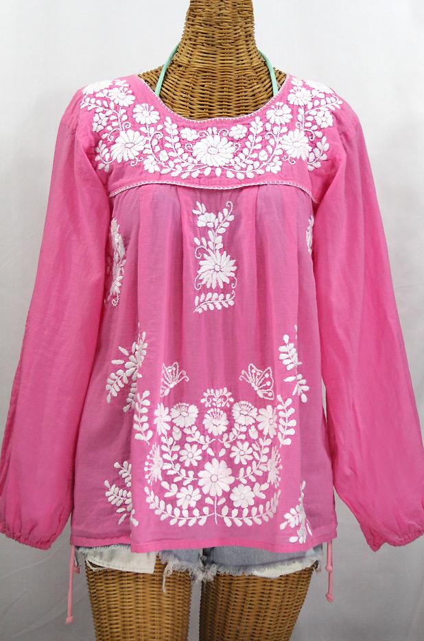 """La Mariposa Larga"" Longsleeve Mexican Blouse - Bubblegum Pink"