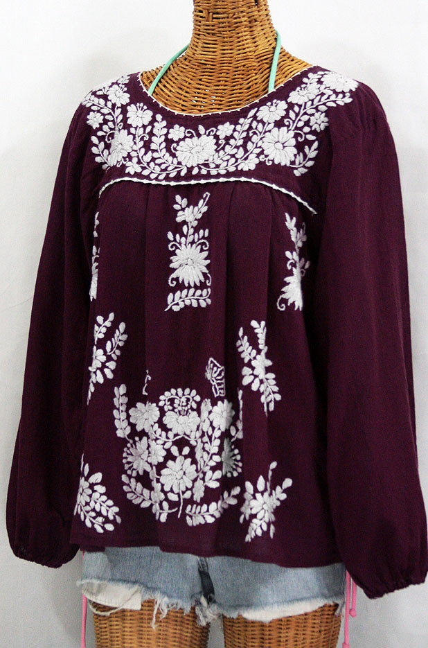 """""""La Mariposa Larga"""" Embroidered Mexican Style Peasant Top - Plum"""