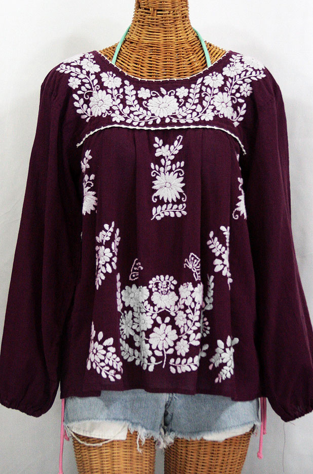 """La Mariposa Larga"" Embroidered Mexican Style Peasant Top - Plum"