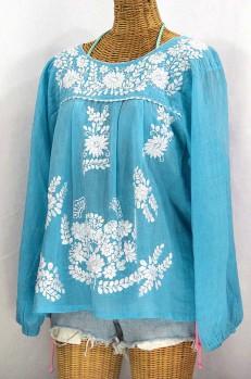 """La Mariposa Larga"" Embroidered Mexican Style Peasant Top - Aqua + White"