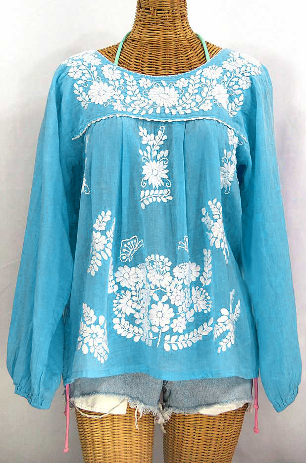 """La Mariposa Larga"" Embroidered Mexican Style Peasant Top - Aqua + White"