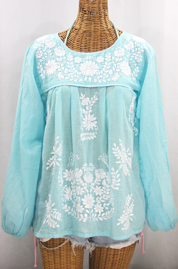 """""""La Mariposa Larga"""" Embroidered Mexican Style Peasant Top - Pale Blue + White"""