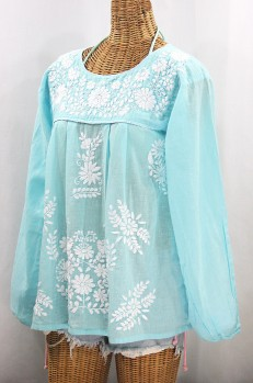 """La Mariposa Larga"" Embroidered Mexican Style Peasant Top - Pale Blue + White"
