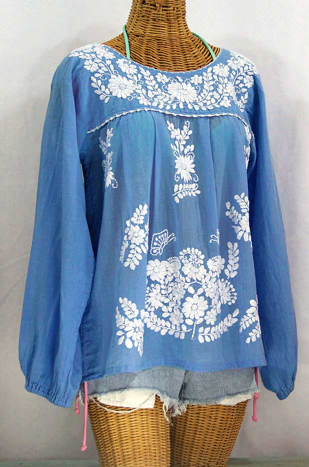 """La Mariposa Larga"" Embroidered Mexican Style Peasant Top - Light Blue"
