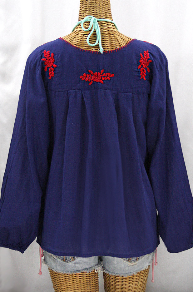 """""""La Mariposa Larga"""" Embroidered Mexican Style Peasant Top - Denim + Red"""