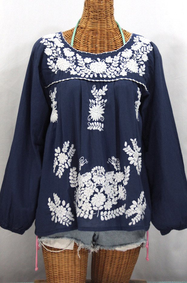 """La Mariposa Larga"" Longsleeve Mexican Blouse - Navy Blue + White"