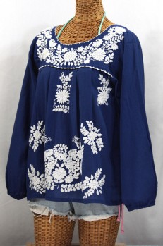 """La Mariposa Larga"" Embroidered Mexican Blouse - Denim Blue"